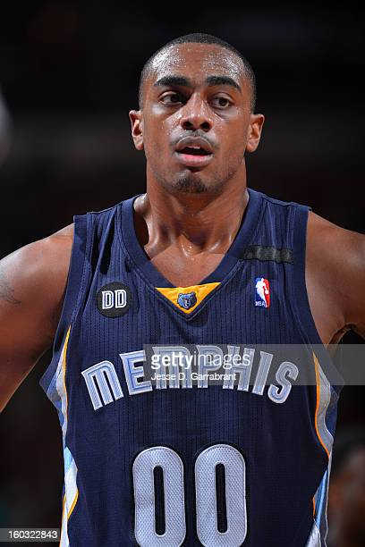 A close up shot of Darrell Arthur of the Memphis Grizzlies during the game against the Philadelphia 76ers at the Wells Fargo Center on January 28...