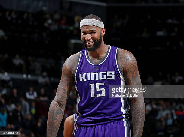 A close up shot of DeMarcus Cousins of the Sacramento Kings smiling during the game against the Brooklyn Nets on November 27 2016 at Barclays Center...