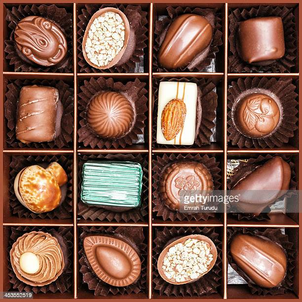 Close up shot of elegance chocolates in box