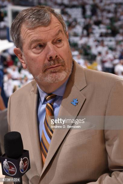 A close up shot of ESPN Analyst PJ Carlesimo during Game Three of the Western Conference Quarterfinals between the LA Clippers and the Utah Jazz of...
