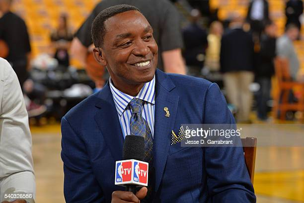 A close up shot of former NBA player Isiah Thomas after Game Five of the 2016 NBA Finals between Cleveland Cavaliers and against the Golden State...