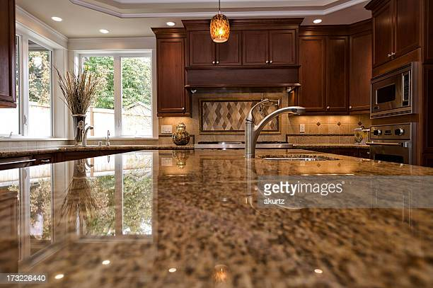 Close up shot of granite kitchen counter