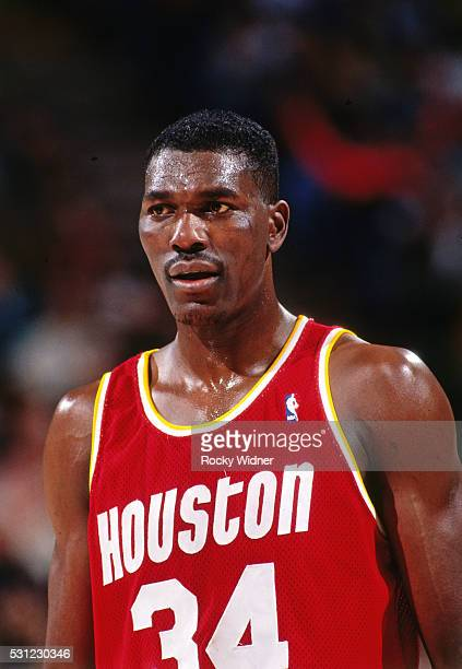 A close up shot of Hakeem Olajuwon of the Houston Rockets during a game against the Sacramento Kings circa 1994 at the ARCO Arena in Sacramento...
