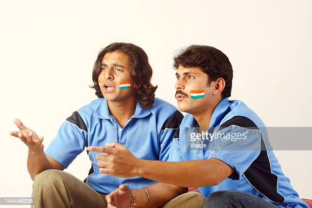 Close up shot of Indian cricket fans