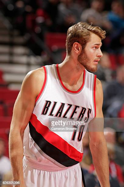 A close up shot of Jake Layman of the Portland Trail Blazers during the game against the Houston Rockets on November 27 2016 at the Moda Center in...