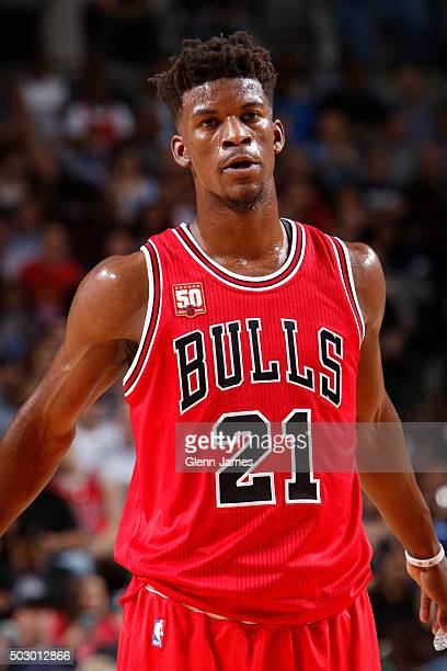 A close up shot of Jimmy Butler of the Chicago Bulls during the game against the Dallas Mavericks on December 26 2015 at the American Airlines Center...