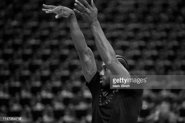 A close up shot of Kawhi Leonard of the Toronto Raptors warming up before Game One of the NBA Finals against the Golden State Warriors on May 30 2019...