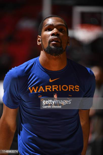 Close up shot of Kevin Durant of the Golden State Warriors smiling and warming up before Game Five of the NBA Finals against the Toronto Raptors on...