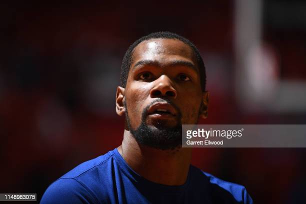 A close up shot of Kevin Durant of the Golden State Warriors smiling and warming up before Game Five of the NBA Finals against the Toronto Raptors on...