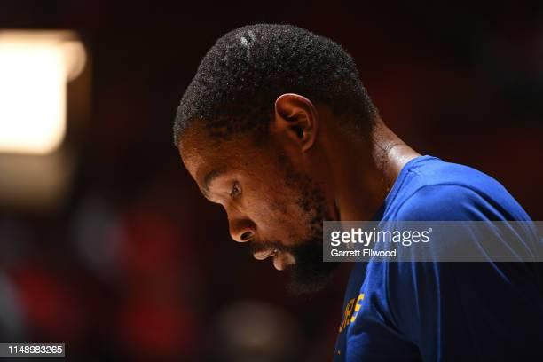 A close up shot of Kevin Durant of the Golden State Warriors warming up before Game Five of the NBA Finals against the Toronto Raptors on June 10...