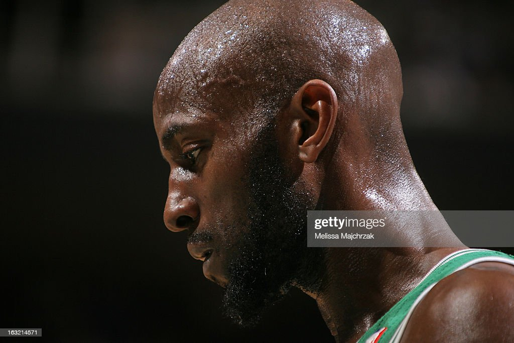 A close up shot of Kevin Garnett #5 of the Boston Celtics during the game against the Utah Jazz at Energy Solutions Arena on February 25, 2013 in Salt Lake City, Utah.