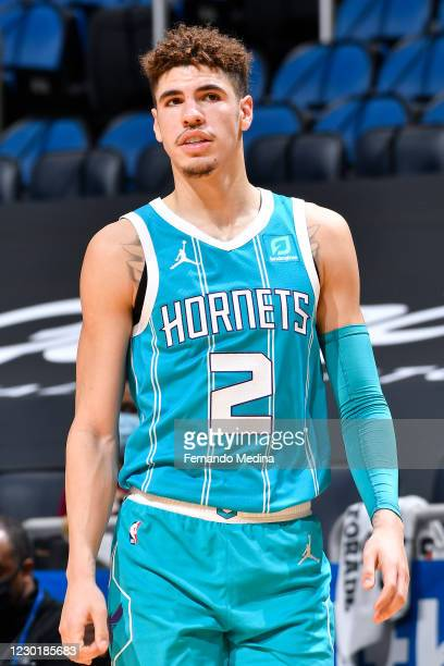 Close up shot of LaMelo Ball of the Charlotte Hornets during a preseason game against the Orlando Magic on December 17, 2020 at Amway Center in...