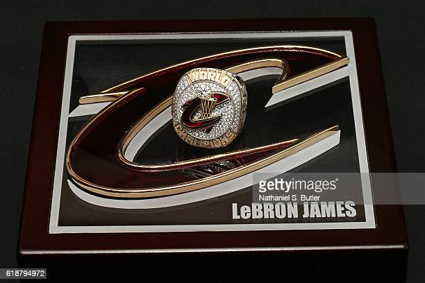 A close up shot of LeBron James of the Cleveland Cavaliers championship ring before the game against the New York Knicks on October 25 2016 at...