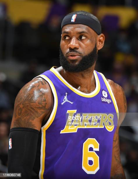 Close up shot of LeBron James of the Los Angeles Lakers against the Phoenix Suns on October 22, 2021 at STAPLES Center in Los Angeles, California....