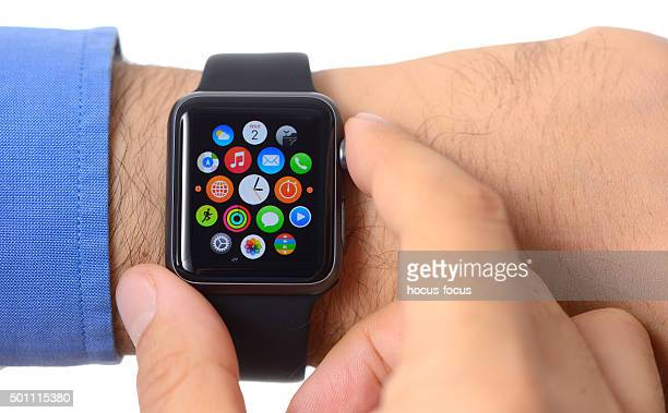 Close up shot of man using Apple Watch Sport