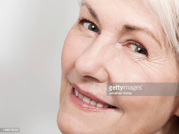 Close up shot of mature woman's face