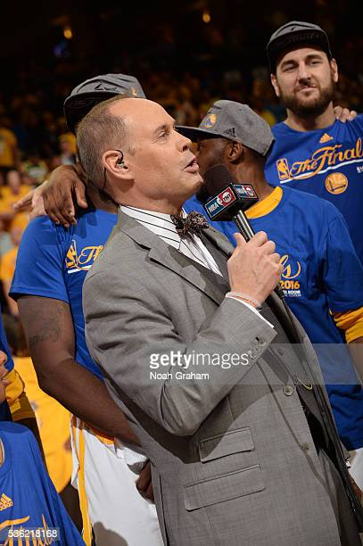 A close up shot of NBA TNT Analyst Ernie Johnson as he introduces the Golden State Warriors after winning Game Seven of the Western Conference Finals...