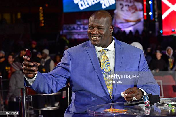 A close up shot of NBA TNT Analyst Shaquille O'Neal taking a 'selfie' on set before the New York Knicks game against the Cleveland Cavaliers on...