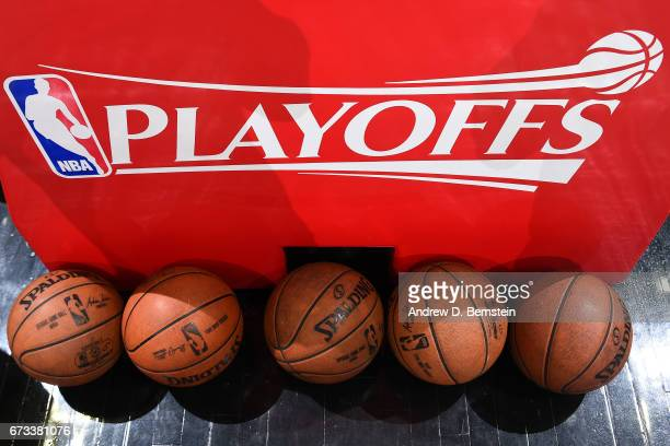 A close up shot of Official NBA Spalding basketballs before Game Five of the Western Conference Quarterfinals between the Utah Jazz and the LA...
