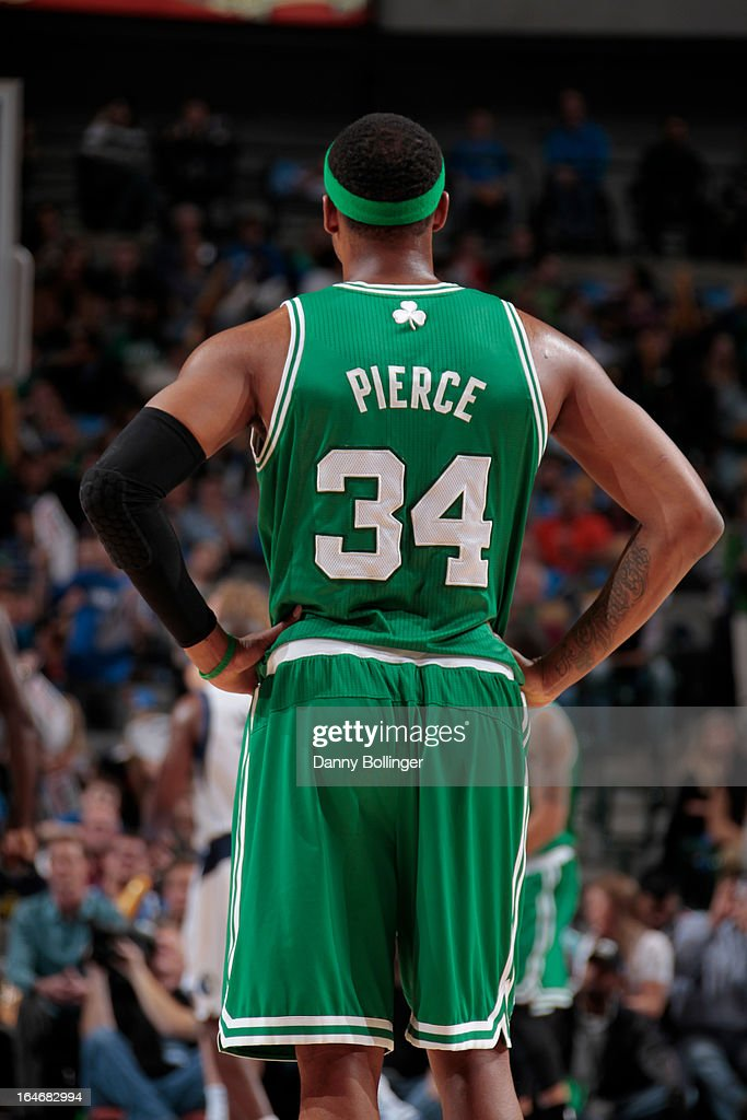 A close up shot of Paul Pierce #34 of the Boston Celtics during the game against the Dallas Mavericks on March 22, 2013 at the American Airlines Center in Dallas, Texas.