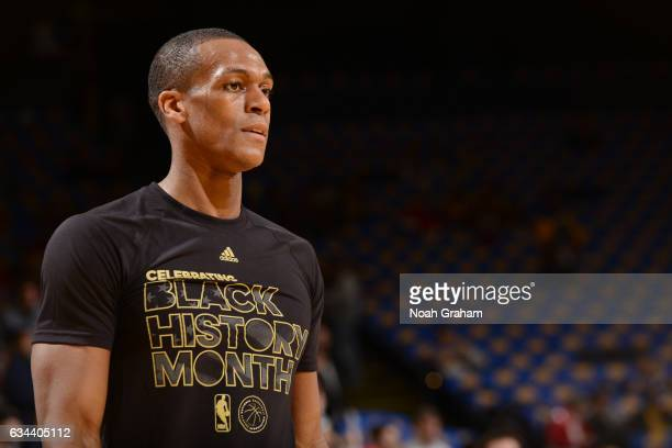 A close up shot of Rajon Rondo of the Chicago Bulls before the game against the Golden State Warriors on February 8 2017 at ORACLE Arena in Oakland...