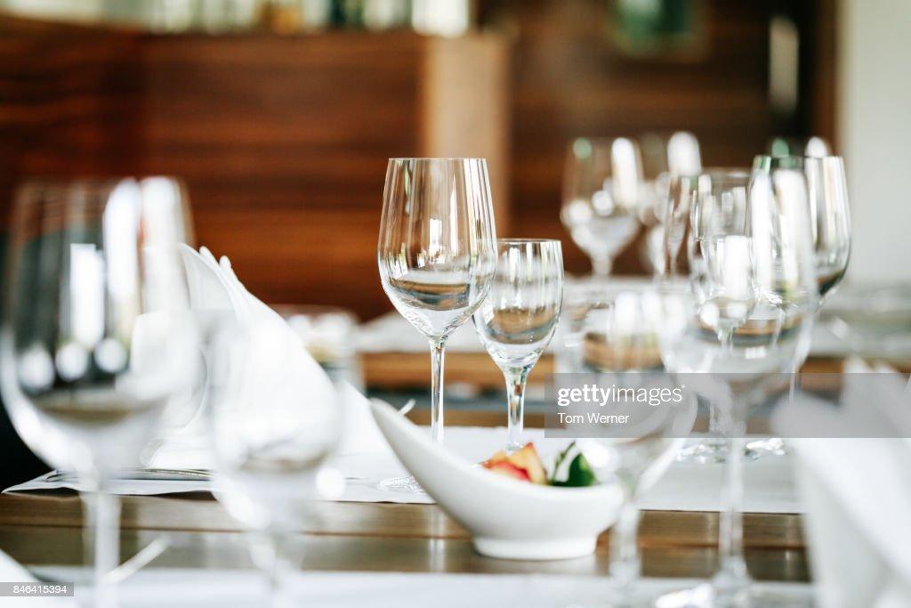 Close Up Shot Of Restaurant Table Setup : Stock-Foto