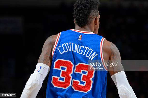 A close up shot of Robert Covington of the Philadelphia 76ers during the game against the Detroit Pistons at Wells Fargo Center on March 4 2017 in...