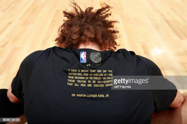 A close up shot of Robin Lopez of the Chicago Bulls shooting shirt before the game against the Miami Heat on January 15 2018 at the United Center in...
