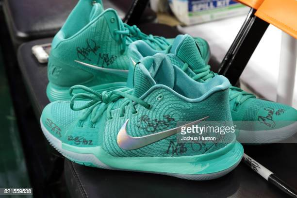 A close up shot of sneakers signed by Breanna Stewart of the Western Conference AllStars prior to the 2017 WNBA AllStar Game on July 22 2017 at Key...