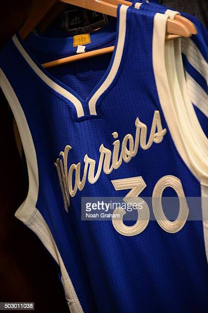 A close up shot of Stephen Curry of the Golden State Warriors jersey before the game against the Cleveland Cavaliers on December 25 2015 at ORACLE...