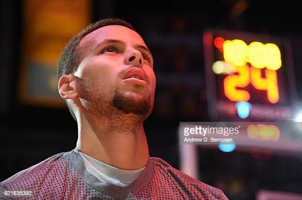 A close up shot of Stephen Curry of the Golden State Warriors standing on the court before the game against the Los Angeles Lakers on November 4 2016...