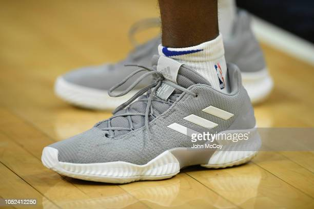 Close up shot of the Adidas shoes worn by Luc Mbah a Moute of the LA Clippers before the season opener against the Denver Nuggets at Staples Center...