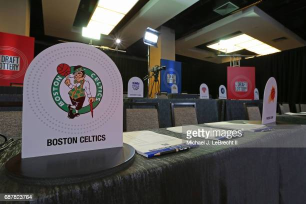 A close up shot of the Boston Celtics logo during the 2017 NBA Draft Lottery at the New York Hilton in New York New York NOTE TO USER User expressly...