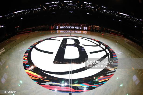 Close up shot of the Brooklyn Nets half court logo on December 8, 2019 at Barclays Center in Brooklyn, New York. NOTE TO USER: User expressly...