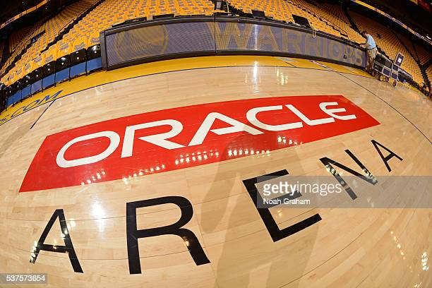 A close up shot of the court at Oracle Arena before Game Five of the Western Conference Finals between the Oklahoma City Thunder and the Golden State...