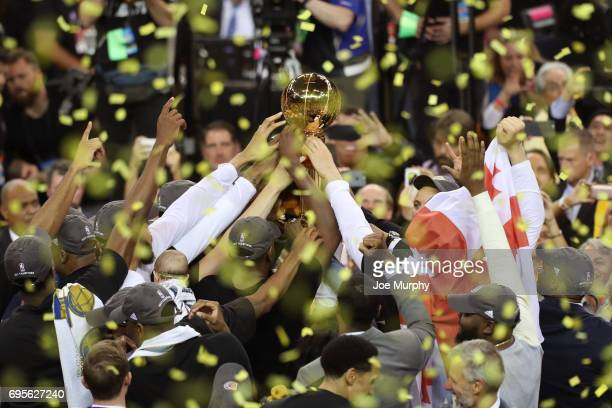 A close up shot of the Golden State Warriors celebrating on the court after winning Game Five of the 2017 NBA Finals against the Cleveland Cavaliers...