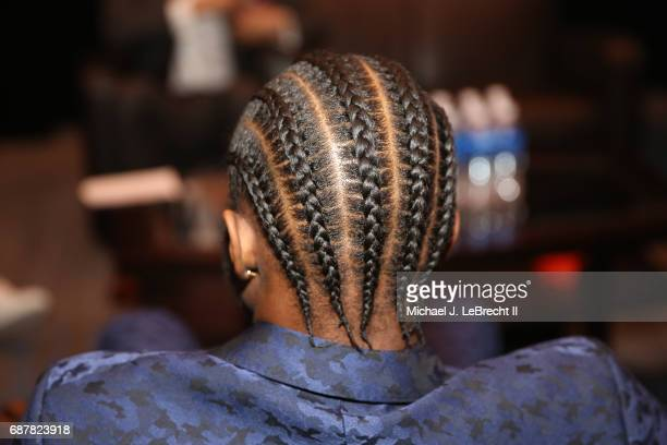 A close up shot of the hair of Andrew Wiggins of the Minnesota Timberwolves during the 2017 NBA Draft Lottery at the New York Hilton in New York New...