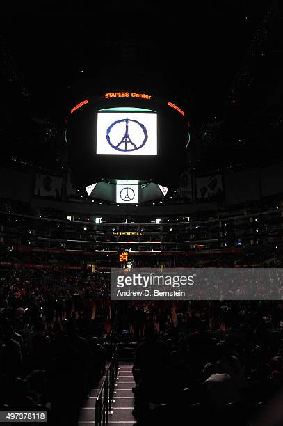 A close up shot of the jumbotron displaying Peace for Paris logo before the game at STAPLES Center on November 14 2015 in Los Angeles California NOTE...