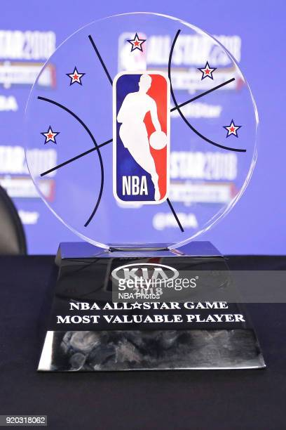 A close up shot of the KIA Most Valuable Player Trophy during the press conference after the NBA AllStar Game as a part of 2018 NBA AllStar Weekend...
