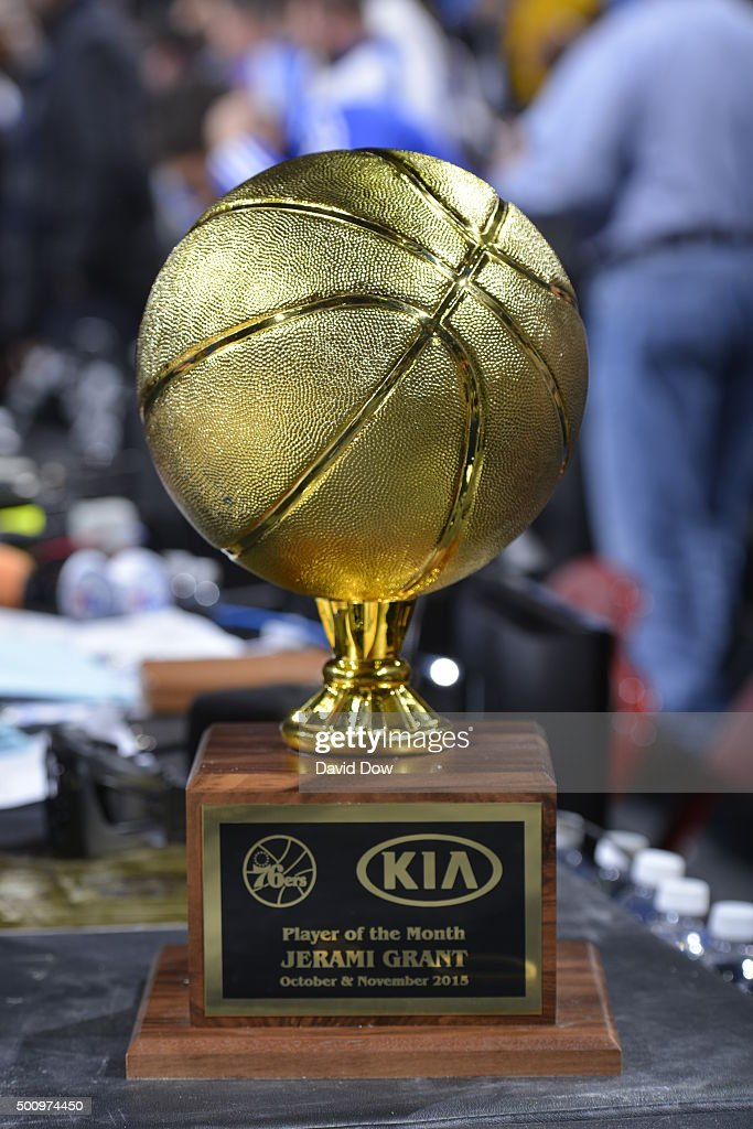 A close up shot of the KIA Player of the Month Trophy before the Los Angeles Lakers play against the Philadelphia 76ers at the Wells Fargo Center on December 1, 2015 in Philadelphia, Pennsylvania.