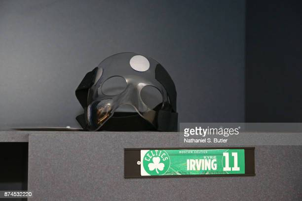 A close up shot of the Kyrie Irving of the Boston Celtics mask before the game against the Brooklyn Nets on November 14 2017 at Barclays Center in...