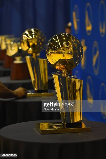 A close up shot of the Larry O'Brien Trophy during the Victory Parade and Rally on June 15 2017 in Oakland California at The Henry J Kaiser...