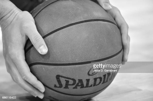 A close up shot of the official Adam Silver NBA Spalding ball before the game between the San Antonio Spurs and the Golden State Warriors during Game...