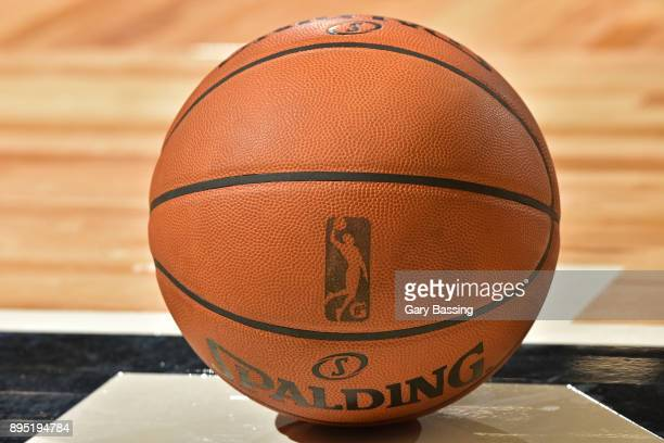 A close up shot of the official Adam Silver NBA Spaulding ball is seen before the game between the Canton Charge and the Lakeland Magic on November...