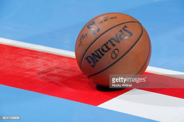 A close up shot of the official Adam Silver NBA Spaulding ball is seen during the game between the Minnesota Timberwolves and the Sacramento Kings on...