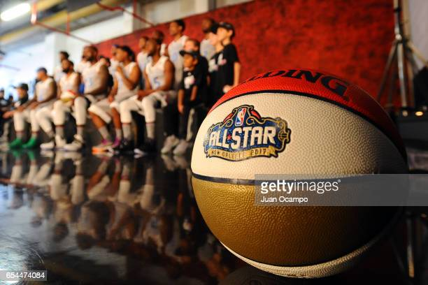 A close up shot of the Official NBA Spalding AllStar basketball during the 2017 NBA AllStar Game on February 19 2017 at the Smoothie King Center in...