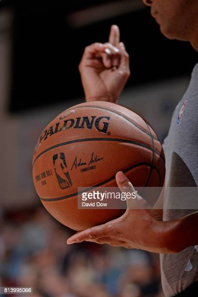 A close up shot of the Official @NBA Spalding Basketball during the 2017 Las Vegas Summer League game between the New Orleans Pelicans and the San...
