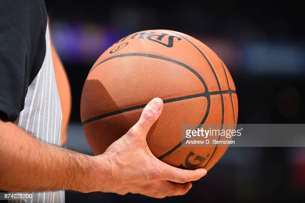 A close up shot of the Official NBA Spalding basketball during the Philadelphia 76ers game against the LA Clippers on November 13 2017 at STAPLES...