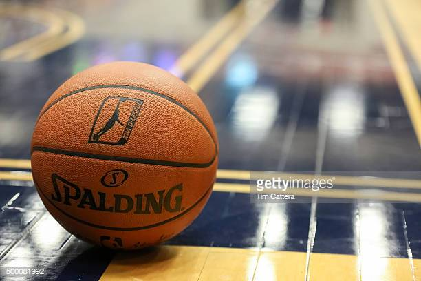 A close up shot of the official NBA Spalding DLeague basketball during the Los Angeles DFenders game against Bakersfield Jam at Dignity Health Event...
