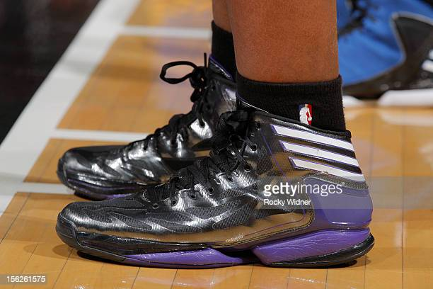A close up shot of the shoes belonging to Chuck Hayes of the Sacramento Kings in a game against the Golden State Warriors on November 5 2012 at Sleep...